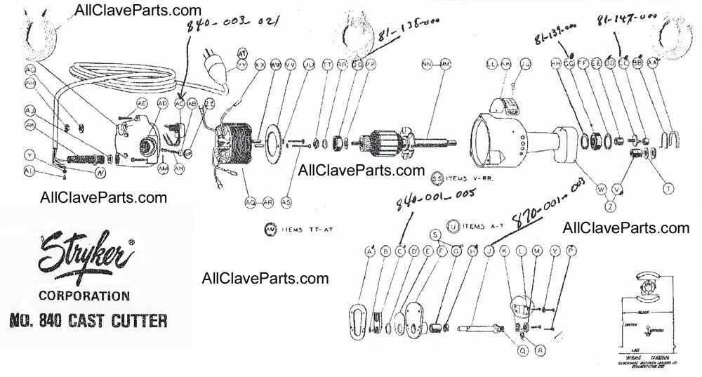 Stryker 840 Cast Cutter Exploded View