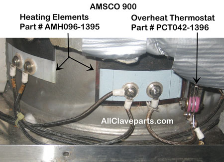 AMSCO 900 Heating Element & Overheat Thermostat Location Photo