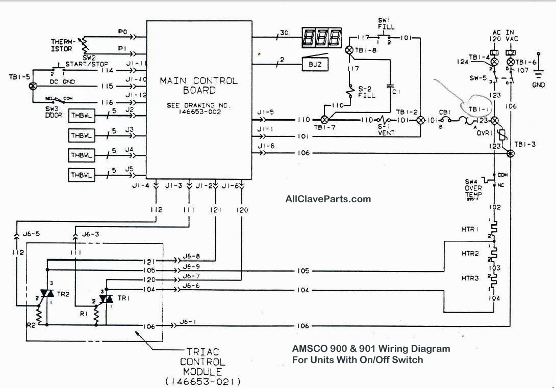 amsco 900 wiring diagram (with on off switch)