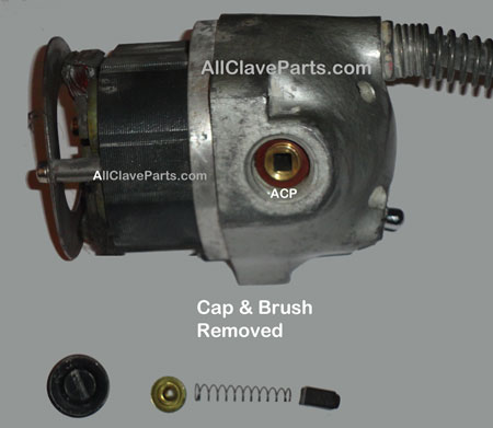 Picture after motor cap & brush has been removed on the Stryker 840 cast cutter