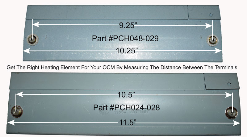 Measure the distance between the terminals on the heating elements